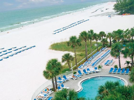 Pool and beach at the Tradewinds Island Grand