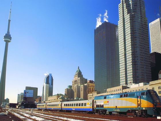 VIA Rail train in Toronto
