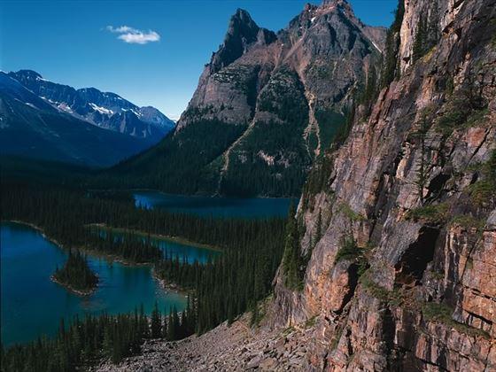 Rocky Mountain cliffs and Lake O'Hara, Yoho National Park