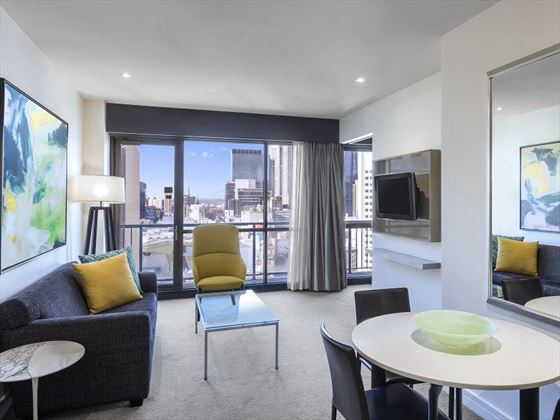 Adina Apartment Hotel Melbourne One Bedroom Apartment Lounge Room