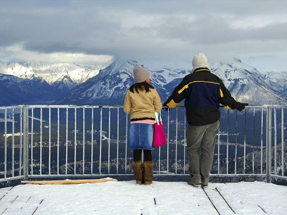 Admiring views from Sulphur Mountain