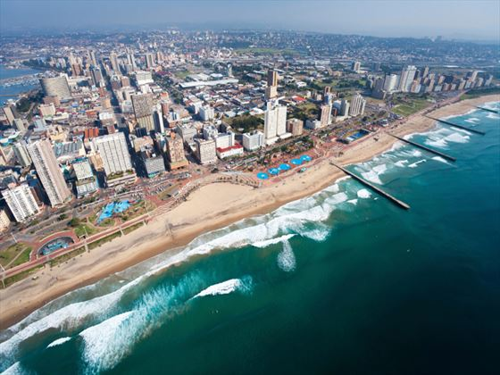 See cityscapes teamed with beautiful beaches in Durban