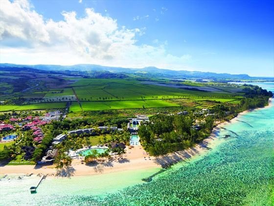 Aerial view of Outrigger Mauritius Resort