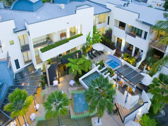 Aerial view of Peninsula Boutique Hotel