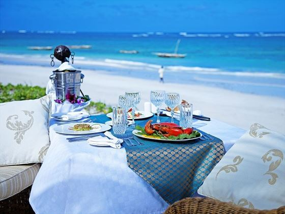 Al fresco lunch on the beach