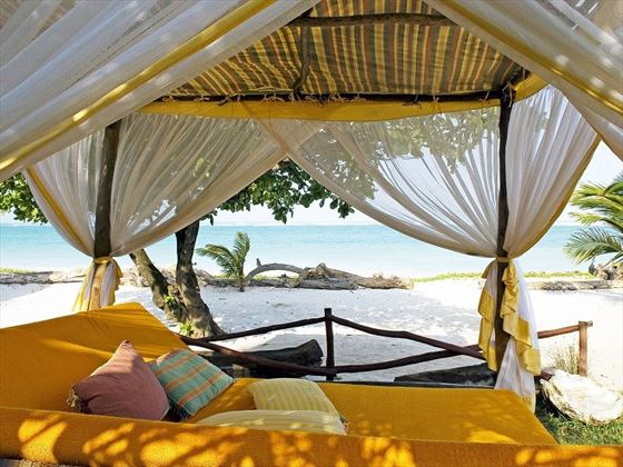 Swahili bed on beach