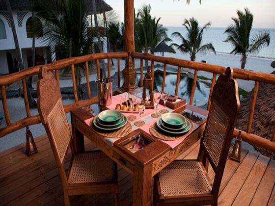 Al fresco dining area at WaterLovers Beach Resort