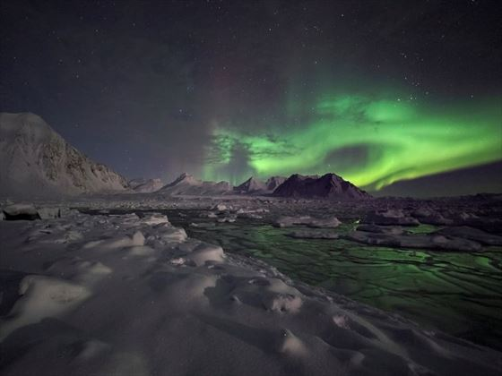 Arctic landscape with Northern Lights