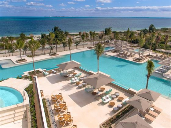 An aerial view of the pool at Atelier Playa Mujeres