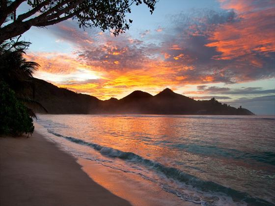 Sunset over Baie Lazare beach