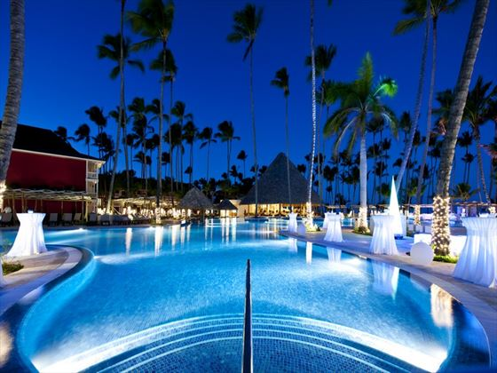 Barcelo Bavaro Beach swimming pool at night