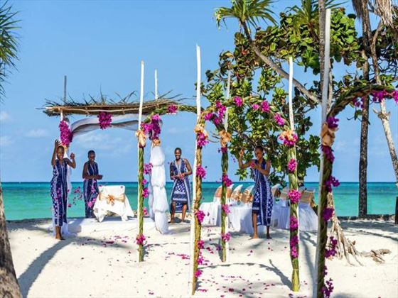 Ceremony arch at Diamonds Mapenzi Beach