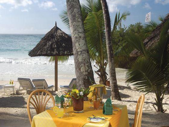 Beachfront dining at Leopard Beach Resort & Spa