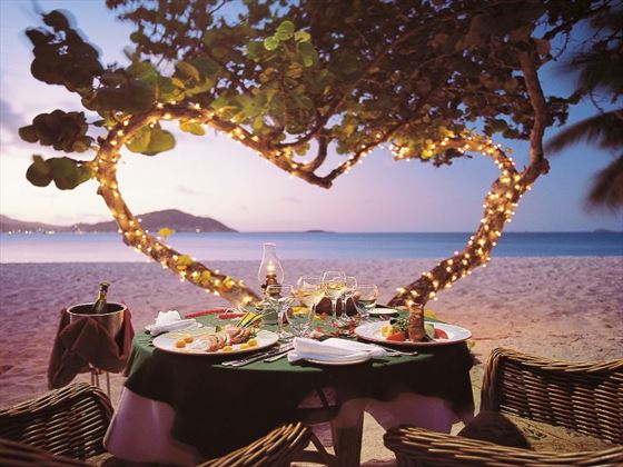 Beachfront dinner for two