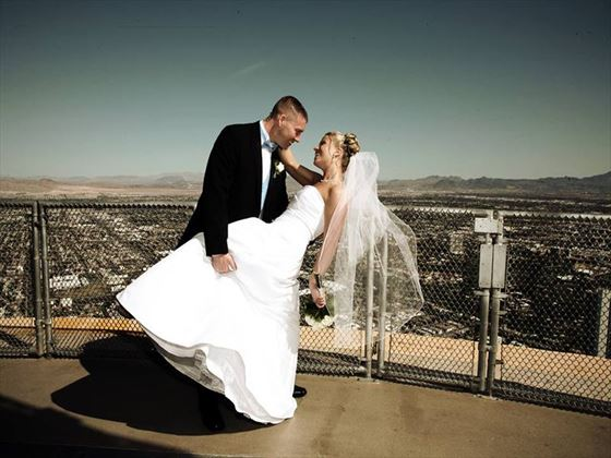 Bride & Groom atop of the Stratosphere Hotel