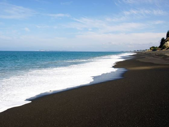 Black sand beach, Hawke's Bay