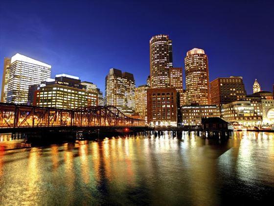 Downtown Boston skyline, along the harborwalk