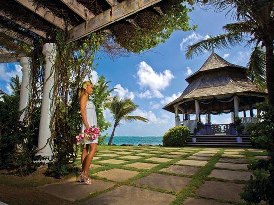Bride at the Oceanfront Gazebo
