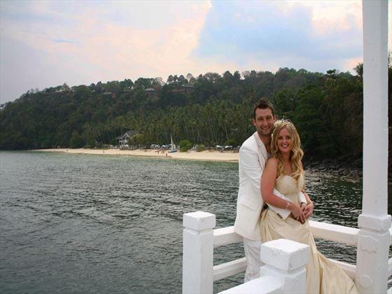 Bride and groom at Cape Panwa