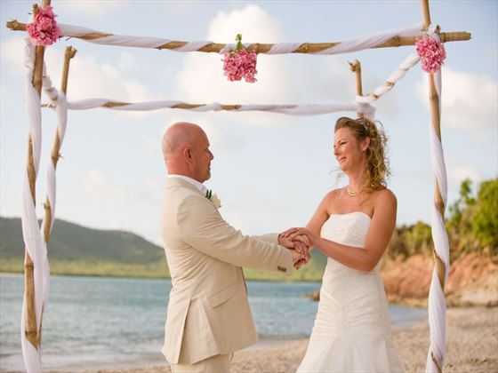 Bride and groom at Hermitage Bay Hotel
