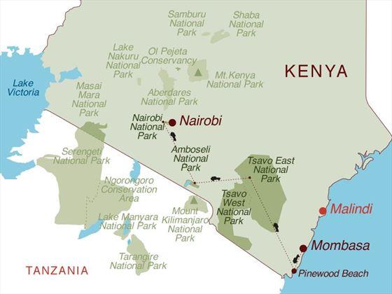 Capital to Coast 4x4 Safari Map