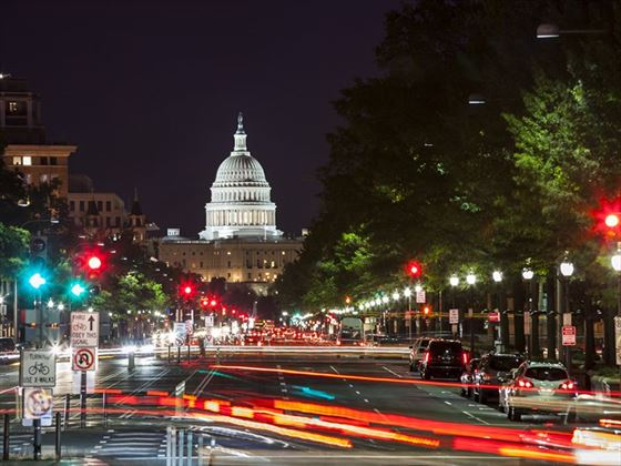 Capitol Building from Pennsylvania Avenue at night