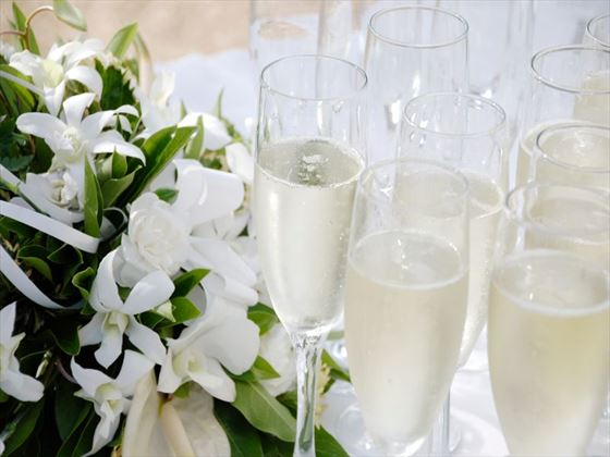 Champagne and flowers