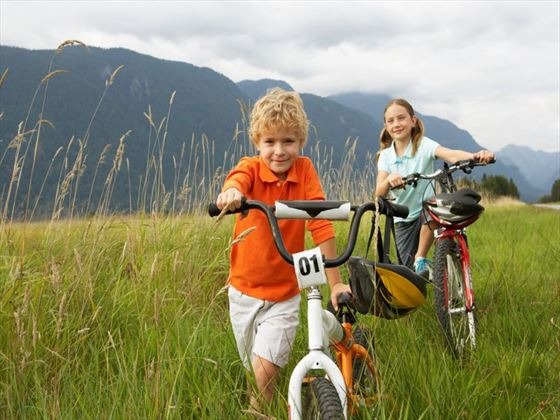 Children mountain biking near Vancouver