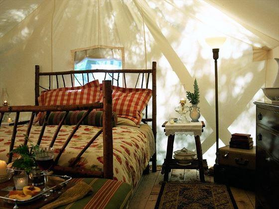 Deluxe tent bedroom