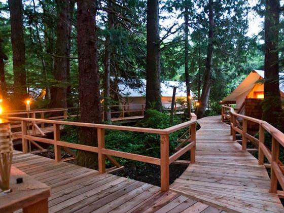 Walkways through the resort