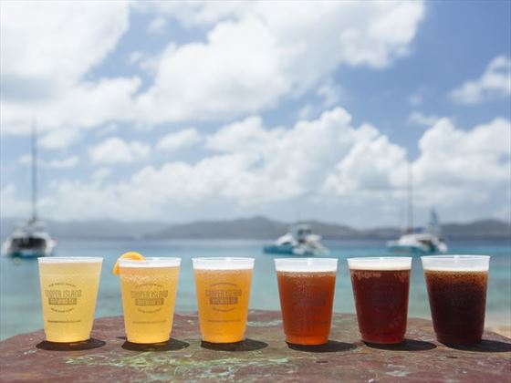 Beers from the microbrewery at Cooper Island