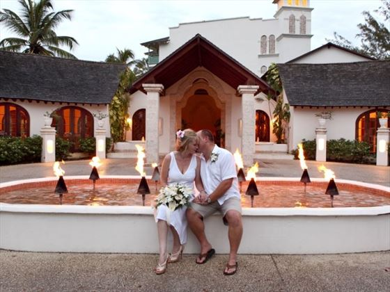 Newlyweds outside of Mango Bay