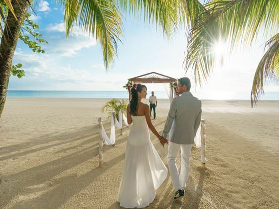 Beach wedding setting at Couples Swept Away