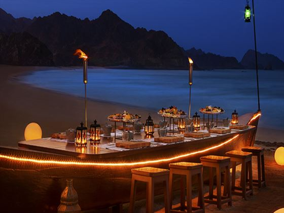 Crab shack beach dining at Al Bustan Palace