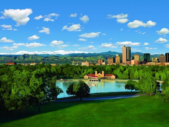 Denver skyline and City Park