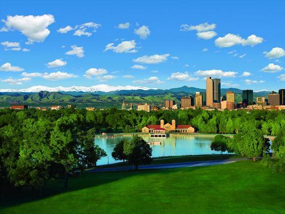 Denver skyline and City Park