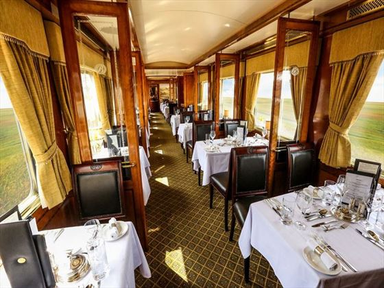 Dining aboard the Blue Train
