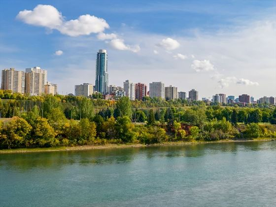 Edmonton skyline viewed from the river