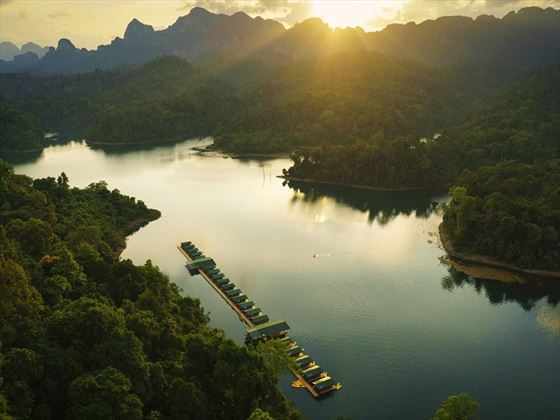 Aerial view of Elephant Hills Rainforest Camp, Khao Sok