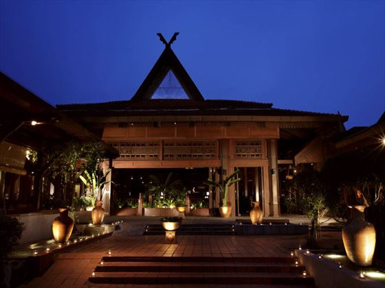 Exterior view of Meritus Pelangi Beach Resort & Spa at night