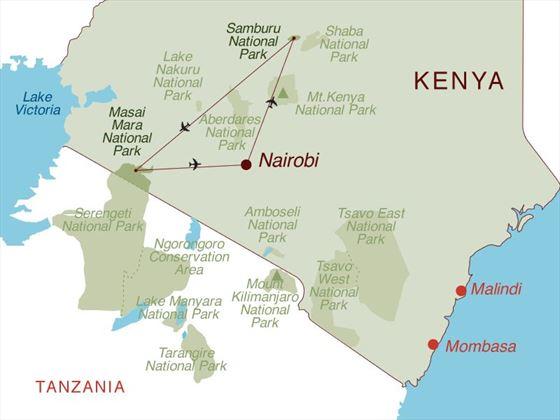 Family Flying Safari Map