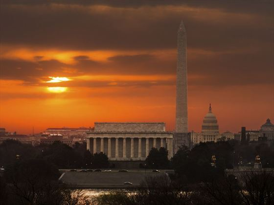 Sunrise over the monuments of Washington, DC
