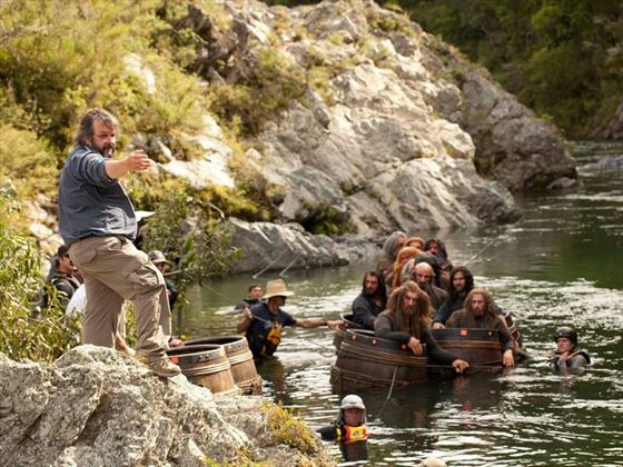 Filming the barrel run scene in The Desolation of Smaug