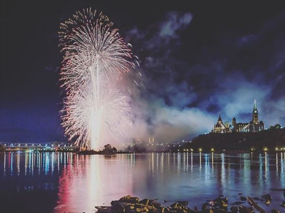 Fireworks over Ottawa's Parliament Buildings