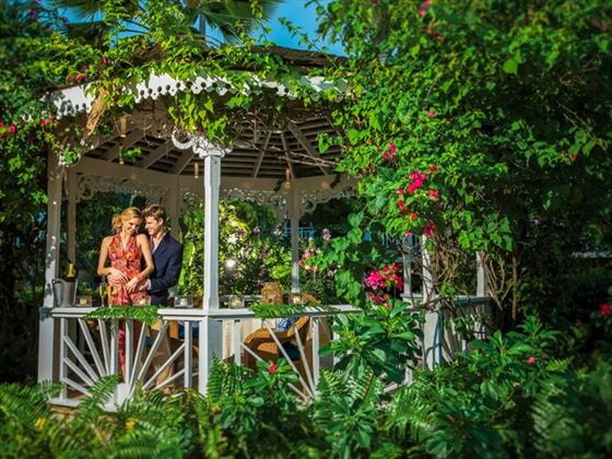 Romance is found in the lush tropical gardens of the Caribbean Village
