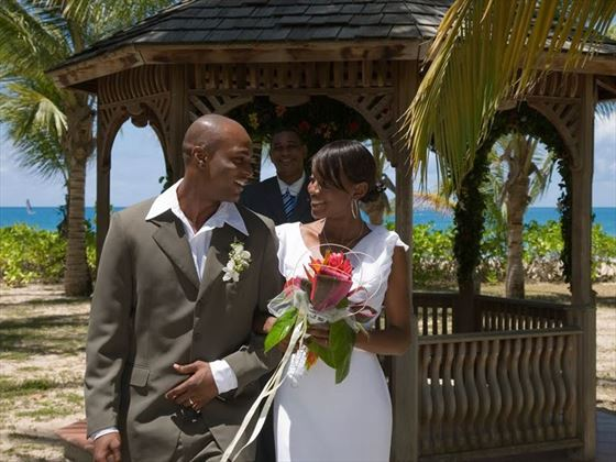 Just married at Galley Bay