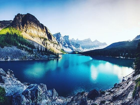 Glistening waters of Moraine Lake, Alberta