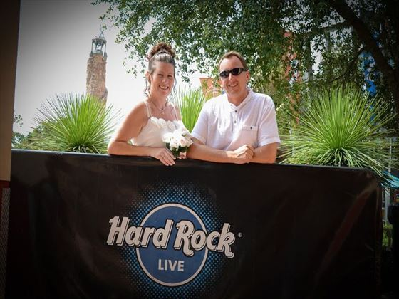The happy couple at the Hard Rock