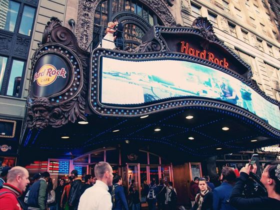 Bride & Groom on the marquee at the Hard Rock Cafe