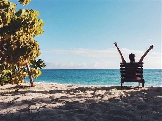 Tropical Sky's Hazel on the beach at Denis Island, Seychelles